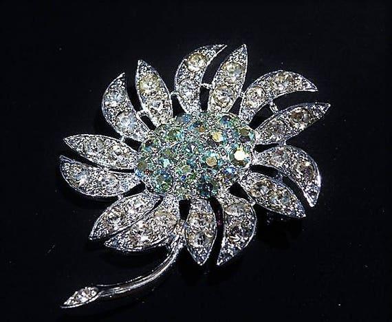 Sarah Coventry Rhinestone Brooch MOUNTAIN FLOWER Mid Century 1960s Fashion Designer Jewelry AB Aurora Borealis Wedding Bride Bridal Summer