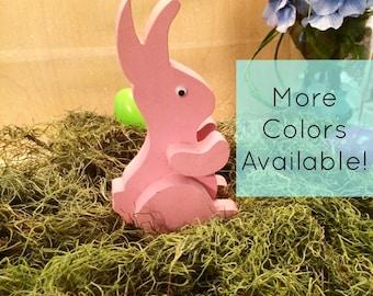 Pink Easter Bunny - Wooden Easter Bunny - Easter Bunny Decor - Easter Decor - Spring Decor - Handmade Easter Decor