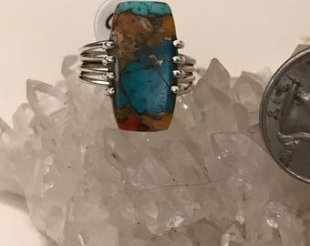 Copper Blue Turquoise Ring Size 9 1/2