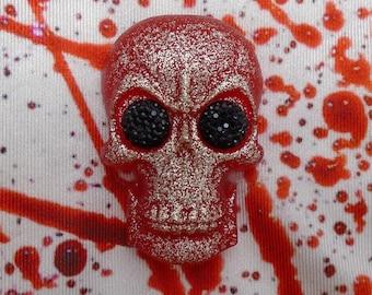 Glitter Skull Brooches