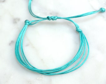 Turquoise Waxed Cord Letter Bracelet Adjustable Bracelet, Waterproof, Friendship Bracelet, Gift for Her, Minimalist Jewelry, Cord Bracelet