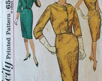 Vintage Sewing Pattern - 1960s Fitted Dress and Jacket Pattern - Simplicity 4173