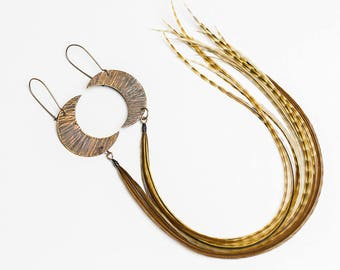 Crescent moon earrings Celestial jewelry Moon earrings Copper earrings with long feathers Bohemian jewelry Half moon earrings Celestial moon