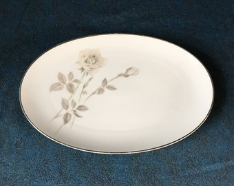 Vintage Noritake Melrose Oval Platter, Platinum Coupe