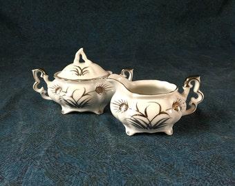 Vintage Lefton Individual or Miniature Platinum Wheat Sugar Bowl and Creamer