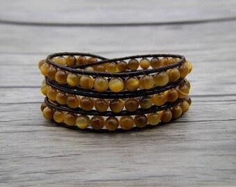 Yellow agate beads bracelet leather wrap bracelet Gold tiger eye bracelet Boho bracelet bohemian jewelry yoga jewelry christmas gift SL-0573