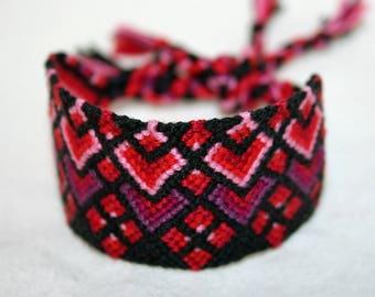 Valentine Friendship Bracelet in Red, Black and Purple