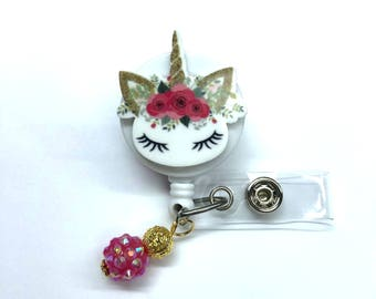 Cute Floral and Gold Unicorn ID Badge Reel with Bead charm! Medical Pediatric Nurse, teacher, office, doctor, lab tech, RN, coworker gift!