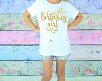 Girls Birthday Shirt - 7th Birthday Girl - Six Birthday Gift - 8th Birthday Shirt - Ten Birthday Outfit - Glitter Birthday T-Shirt