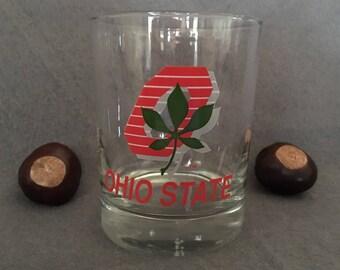 Ohio State Double Old Fashioned Glass, OSU Barware, Vintage OSU glass, Old OSU Logo Glass