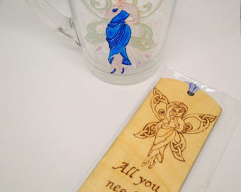 Blue Fairy Gift Set; Glass Mug and Wooden Bookmark; Hand painted glass mug; Wooden Bookmark; Celtic Fairy; Blonde Fairy in Blue Dress;