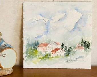 Original watercolor of cottages in summer in the mountain - original painting of summer mountainscape in France