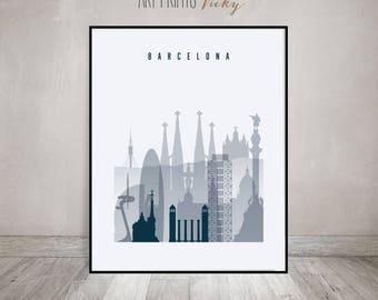 Barcelona art print, Poster, Travel decor, Wall art, Barcelona skyline, Spain, Wall Art, City prints, Home Decor, Gift, ArtPrintsVicky.