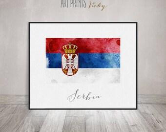 Serbia flag print, art poster, watercolor, Wall art, Serbia art, watercolor flag, typography, office decor, Home Decor, Gift, ArtPrintsVicky