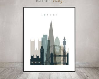 London Wall Art Print, London Skyline, London Poster, Travel Decor, Wall  Decor
