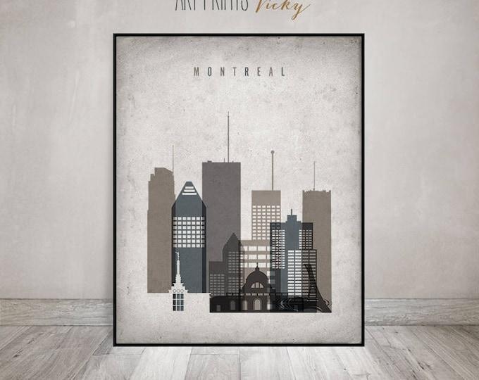 Montreal print, Poster, Montreal Wall art, Montreal skyline, Canada, office decor, travel, Vintage style, Gift, Home Decor, ArtPrintsVicky
