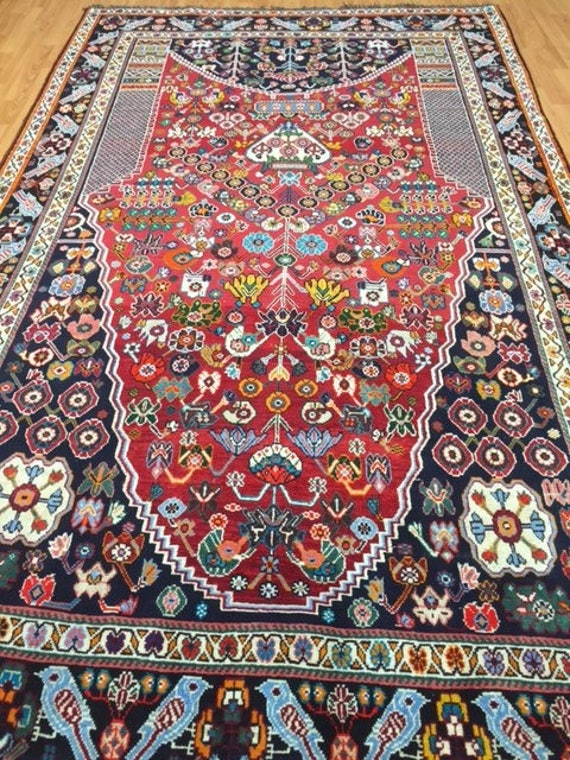 "5'2"" x 8'6"" Persian Shiraz Oriental Rug - Hand Made - 100% Wool"