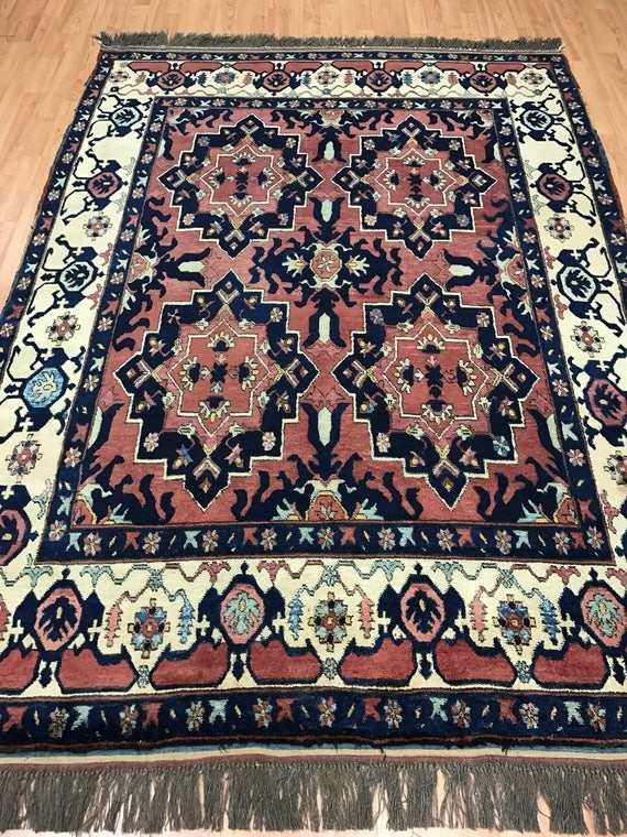 "5'1"" x 7'1"" Afghan Karghai Oriental Rug - Vegetable Dye - Hand Made - 100% Wool"