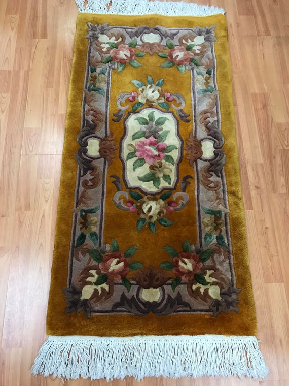 "2'1"" x 4' Chinese Aubusson Oriental Rug - Full Pile - Hand Made - 100% Wool"