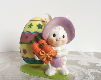 Vintage Enesco Plastic Easter Bunny Egg  Candy Holder 1980's Easter Decor 1983 Bunny Figurine Knick Knack  Made in Hong Kong