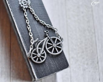 Silver Bicycle Necklace | Antique Silver Necklace | Single-Chain Style