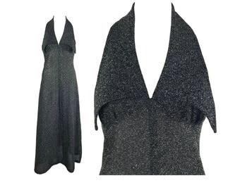Vintage 1970s Silver Lurex Maxi Dress Sleeveless Gown Retro Metallic Piqued Collar Halter Neck Floor Length