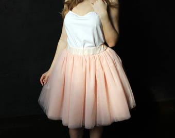 Peach tulle skirt, bridesmaid skirt, blush skirt, tulle skirt, bridesmaid dress