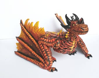 Wyvern dragon, Fire dragon, Dragon sculpture, wyvern sculpture, Element dragon, Fire element, Mythical creature, Mystical dragon