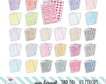 43 Planner Stickers Clipart. Personal and comercial use.
