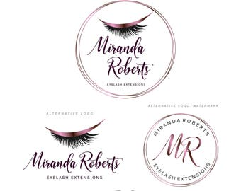 Lashes logo, Eyelash extension logo, Cosmetics logo, Branding Kit, Lash Make up logo, Logo Design, Beauty salon, Rose Glitter package 116