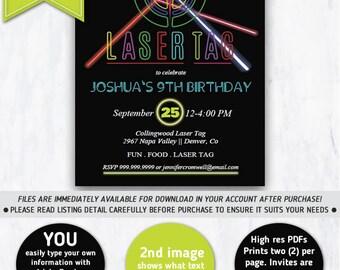 Laser Tag Birthday Party Invitation | Laser Tag Invitation, Laser Tag Party, Neon Invitation, Neon Chalkboard, Laser Theme, Lazer Tag
