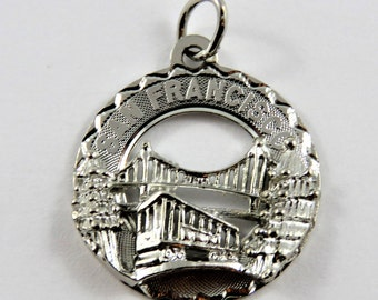 San Francisco Showing Golden Gate Bridge and Cable Car Sterling Silver Pendant or Charm.