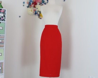 "80s Does 60s Pencil Skirt - Sexy Vintage Red Midi - Back Slit Accordian Fold - Wiggle Skirt - Pinup Mad Men Style - Size Small 27"" Waist"