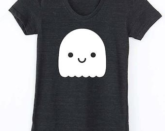 Kawaii Ghost Women's Screen Printed Tee, Women's halloween t shirt, Women's ghost t shirt, spooky ghost tee shirt, womens kawaii tee shirt