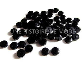 50 mini button in black acrylic - o6 - scrapbooking - mm - supplies - sewing button - black button - knitting - doll - making