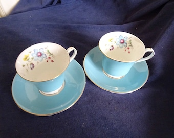 Set of 2 Aynsley English Bone China cups & saucers