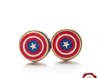 Wood cuff links /  wooden cufflinks / Captain America cuff links/ painted cuff links / comics cuff links / cufflinks / gift for him