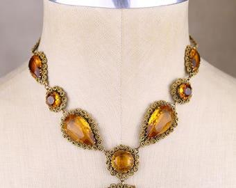 Old faceted amber topaz glass necklace, big rare vintage statement, gold tone brass filigree,