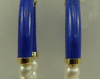 Lapis and Freshwater Pearl Hoop Earrings 14k Yellow Gold