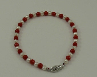 Freshwater White Pearl and Italian Coral Bracelet with 14k White Gold Clasp 7.5""