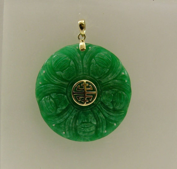 Green Jade 135.0 mm Pendant 14k Yellow Gold