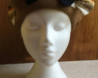 Mid-Brown Beret With Quirky Multi-Coloured Wet-Felted/Needle-Felted Striped Rectangles Design And A Bow