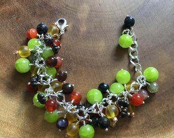 Fall Cluster Bracelet, Autumn Jewelry, Green Bracelet, Yellow Bracelet, Carnelian Bracelet, Cluster Bracelet, Agate Bracelet,Womens Bracelet