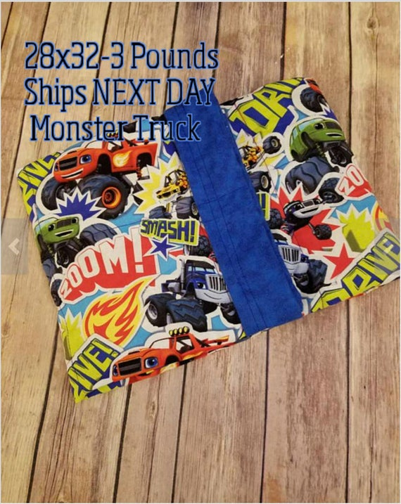 Monster Truck, 3 Pound, WEIGHTED BLANKET, Ready To Ship, 3 pounds, 28x32, for Autism, Sensory, ADHD, Calming, Anxiety,