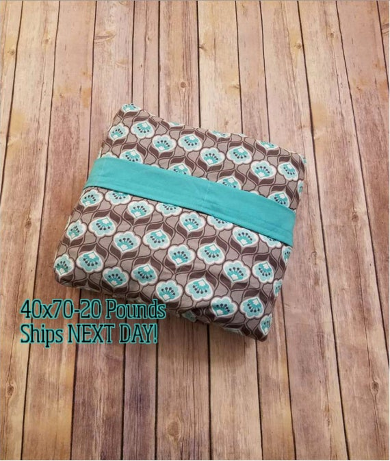 Weighted Blanket, 20 Pound, Gray and Teal, 40x70, READY TO SHIP, Twin Size, Adult Weighted Blanket, Next Business Day To Ship