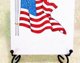 American Flag Card: Add a Greeting or Leave Blank