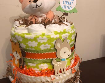 Woodland Animals Two-Tier Diaper Cake