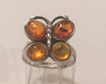 Vintage 925 Sterling Silver Amber Butterfly Ring