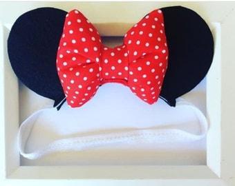 Baby Minnie Mouse Ears, Infant Minnie Ears, Mickey ears, Disney headband