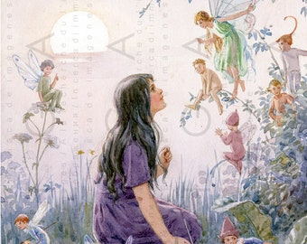 Girl Surrounded By Fairies. Vintage Fairy Illustration.  Fairy Printable Vintage Image. Charming Digital Fairy Download.